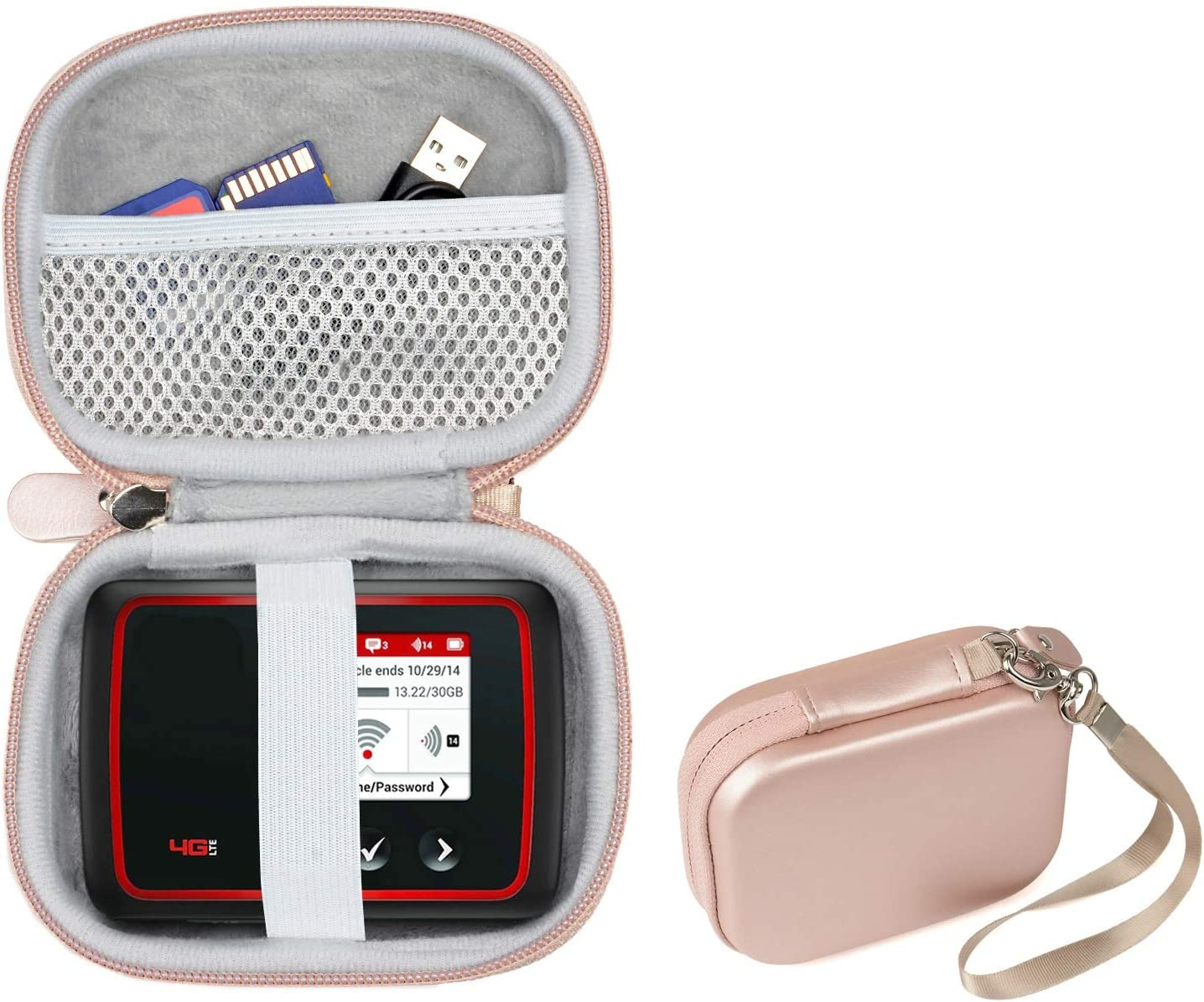 CaseSack Protective Case for Verizon MiFi 6620L Jetpack 4G LTE Mobile Hotspot, Mesh Pocket for Cable, USB and Other Accessories, Detachable Wrist Strap (Rose Gold)