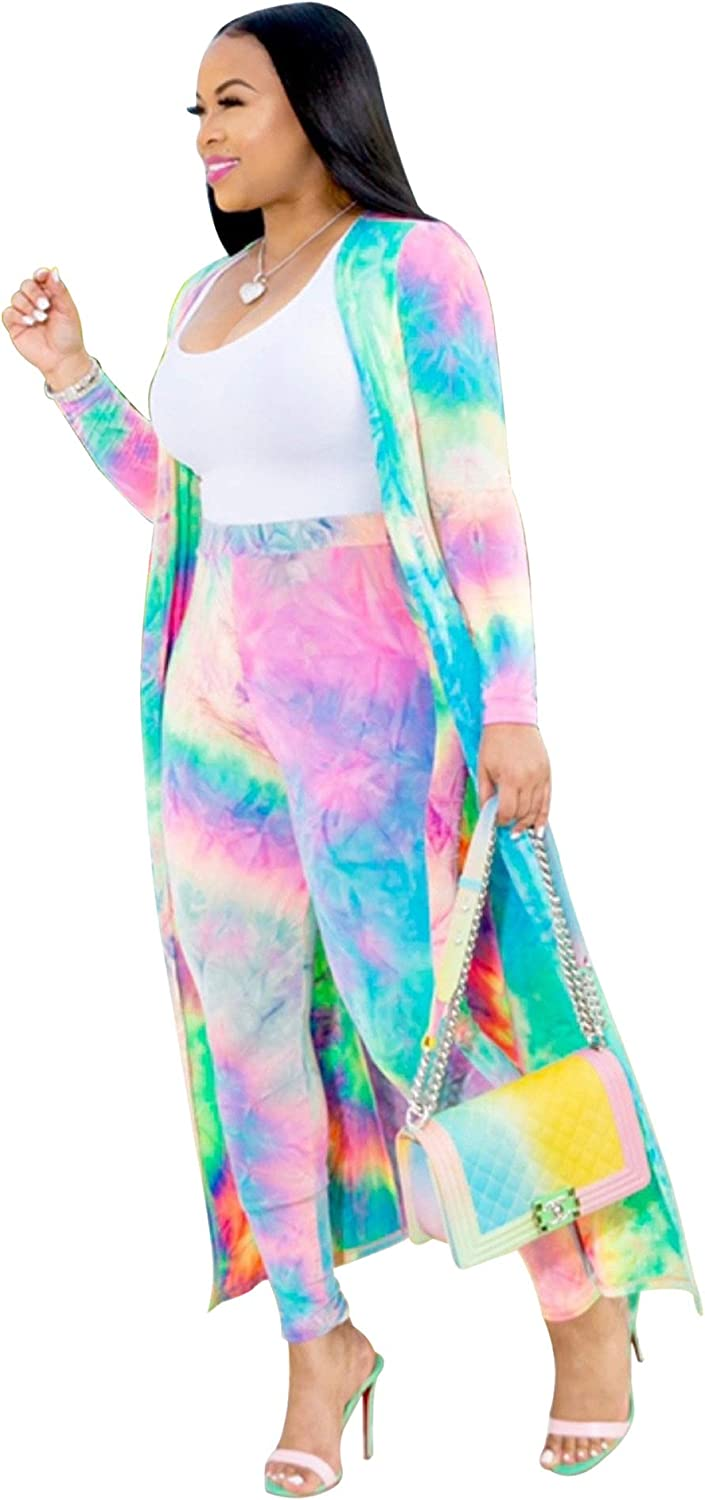 Two Piece Outfit Set Spring Long Sleeves Colorful Coats Lightweight Floral Long Pants Sexy Nightout Clubwear