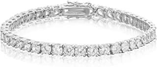Bling Bling NY New 1 Row Tennis Bracelet 8 Inch Silver Finish Lab Created Diamonds 4MM Iced Out Solitaires (Bracelet 8``)