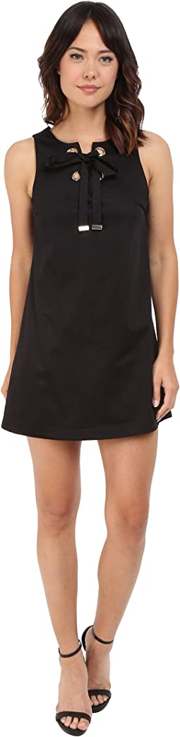 Jessica Simpson Solid Cotton Satin Dress with Front Bow JS6D8560