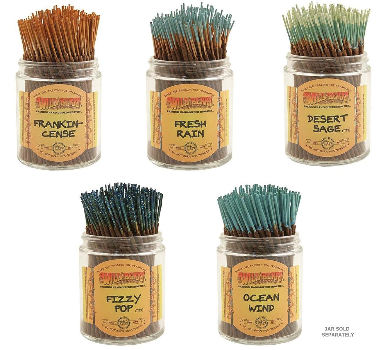 ブレイズ争い中性Wildberry Short Incense Sticks?–?Set of 5秋Fragrances?–?砂漠セージ、Fizzy Pop , Frankincenseフレッシュ、雨、海洋風( 100各パック、合計500?Sticks )