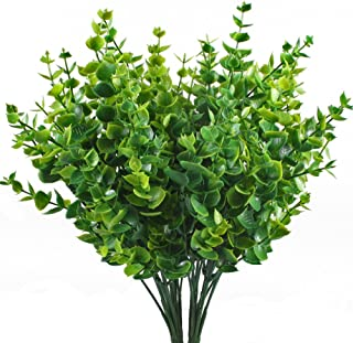 Artificial Shrubs, Hogado 4pcs Fake Plastic Greenery Plants Eucalyptus Leaves Bushes Flowers Filler Indoor Outside Home Garden Office Verandah Decor