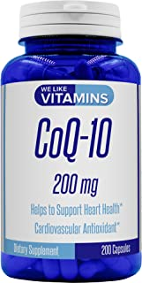 CoQ10 200mg 200 Capsules (Non GMO & Gluten Free) CoQ-10 - Antioxidant Co Q-10 Coenzyme Supports a Healthy Heart and Energy Levels