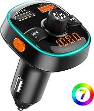 Bovon Transmisor FM Bluetooth Coche, Luz Ambiental de 7 Colores con Modo de Respiración, Adaptador Radio Bluetooth 5V/2.4A+QC3.0 Cargador Coche, Manos Libres Coche, Soporte para Disco U/Tarjeta TF