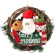 D-FantiX 14 inch Merry Christmas Wreath Decor, Small Grapevine Wreath Front Door Wreaths (Reindeer Snowman Santa Claus)