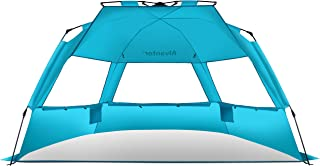 Alvantor 沙滩帐篷*蓝ecoast 沙滩雨伞户外遮阳伞,Cabana 自动弹出 UPF 50+ 遮阳棚 便携式露营钓鱼 登山遮阳篷 易于安装防风 正在挂起 3 或 4 Perso