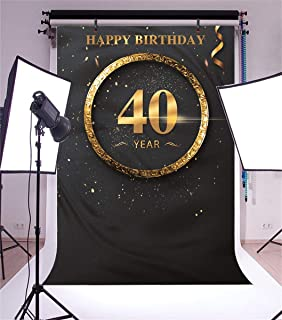 Yeele 40th Birthday Photo Backdrop Golden Forty Year Anniversary Banner Photography Background Man Woman Artistic Portrait 5x7ft Bday Events Decoration Photo Booth Photoshoot Props Wallpaper