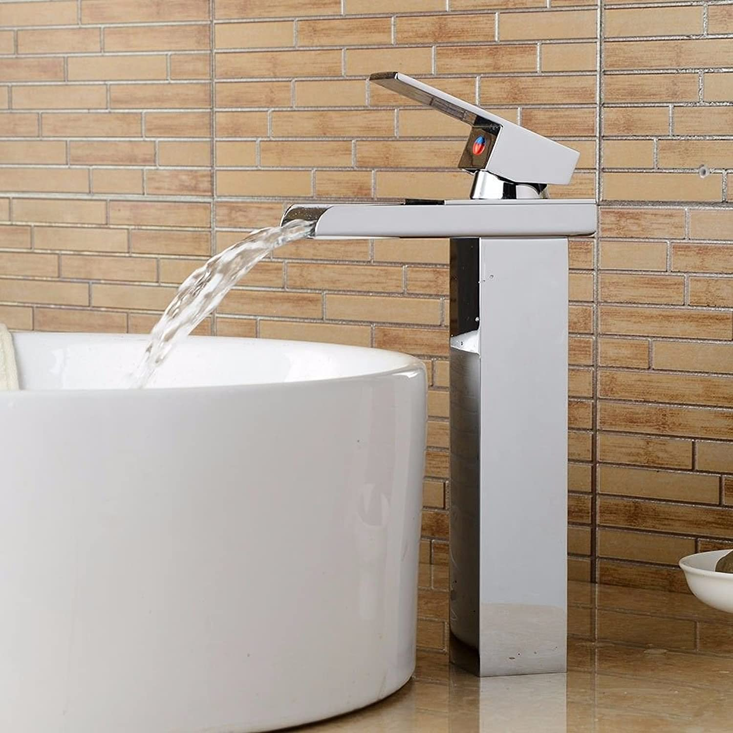 Lpophy Bathroom Sink Mixer Taps Faucet Bath Waterfall Cold And Hot Water Tap For Washroom Bathroom And Kitchen Modern Electroplating Hot And Cold Water Waterfall Single Hole Single Handle Ceramic Valve