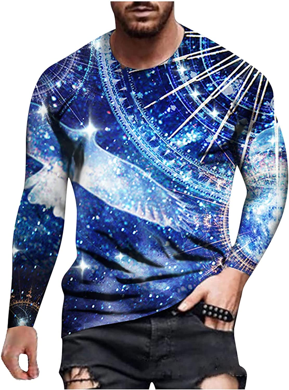 FUNEY Mens Casual T-Shirts Tie Dye Crewneck Long Sleeve Shirts Fashion Vintage Oil Painting Faith Jesus Cross Print Tops