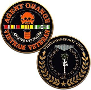 Vietnam Veteran Agent Orange Challenge Coin with Skull and Crossbones, Service Ribbon, and Battlefield Cross