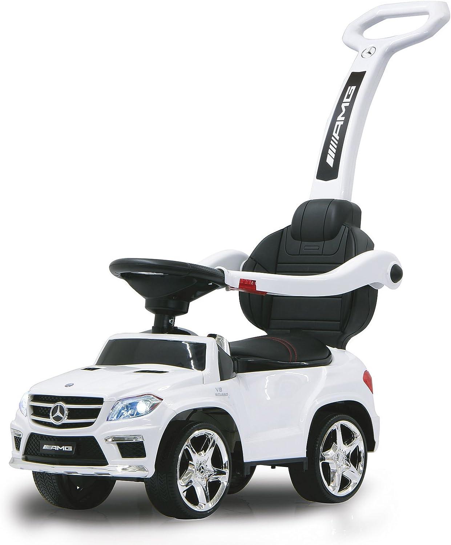 Jamara 460244 - Rutscher Mercedes GL63AMG wei 2in1 – Kippschutz, Kunstledersitz, Kofferraum, Schub- und Haltestange mit Rückenlehne   Schutzbügel, Scheinwerfer vorne   hinten, Motorsound, Hupe, Musik