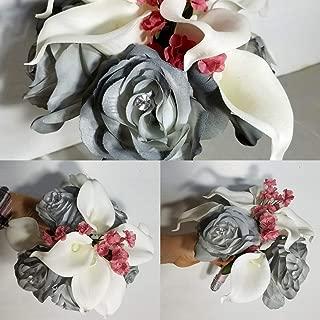 Grey Mauve Rose Calla Lily Bridal Wedding Bouquet & Boutonniere