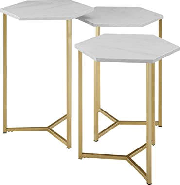 WE Furniture Modern Hexagon Nesting Side End Table Set Living Room, Set Of 3, White Marble, Gold