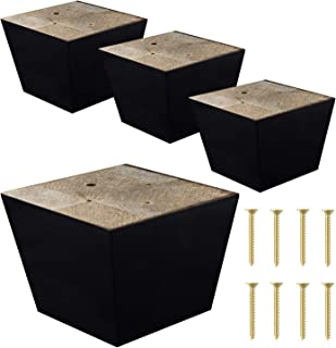 ComfortStyle Furniture Legs for Sofa Chair Couch or Ottoman, Set of 4 Replacement Feet, 3 Inch Tall, Square with Tapered Sides, Dark Espresso Finish