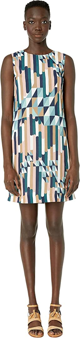 Shift Dress in Broken Stripe Print