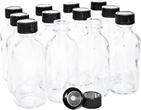 (Pack of 12) 2 oz. Clear Boston Round with Black Poly Cone Cap