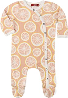 MilkBarn Organic Cotton Footed Romper Grapefruit