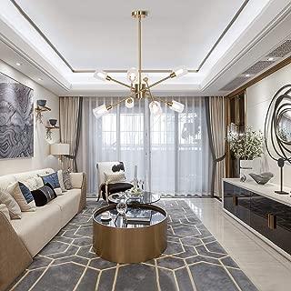 MELUCEE Brass Chandelier 8 Lights, Sputnik Light with Glass Shade Modern Pendant Light Semi Flush Mount Ceiling Light for Foyer Bedroom Dining Room, 8 Bulbs G9 Base Included