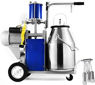 VEVOR Milking Machine 1440 RPM 10-12 Cows Per Hour Electric Milking Machine with 25L 304 Stainless Steel Bucket Milk Machine for Cows