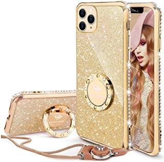 Cute iPhone 11 Pro Max Case, Glitter Bling Diamond Rhinestone Bumper with Ring Grip Kickstand Protective Thin Girly Gold iPhone 11 Pro Max Case for Women Girl [6.5 inch] 2019 - Gold