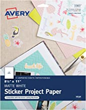 Avery Printable Sticker Paper, Matte White, 8.5 x 11 Inches, Inkjet Printers, 15 Sheets (3383)