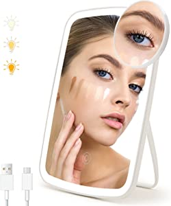 SGUTEN Makeup Mirror with Lights & Magnification, Small LED Touch Mirror with 10X Magnifying as Travel Mirror, Folding Portable Small Vanity Mirror with Lights for Home & Travel, White