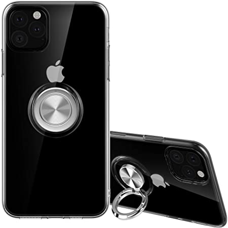 SORAKA Coque Transparente pour iPhone 11(6,1 Pouces) avec Anneau Rotatif à 360 degrés Mince Coque Transparente en TPU avec Plaque métallique pour ...