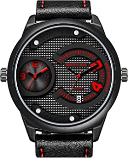 KONXIDO Men's Military Sport Wrist Watch Quartz Dual Dial with Analog Digital Display Watches Big Face Waterproof with Black Genuine Leather Band Fit Casual Indoor Outdoor and Daily Use
