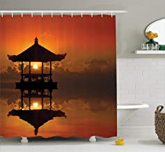 Ambesonne Balinese Decor Collection, Sunset in Bali Beach Bungalow Reflection Romance Horizon Summer Getaway Cloudscape, Polyester Fabric Bathroom Shower Curtain Set with Hooks, Orange Black