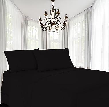 Luxury Twin Flat Sheet Brushed Microfiber, Black