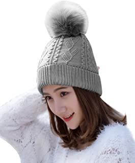 HINDAWI Womens Beanie with Pom Pom Winter Hats Knitted Ski Wool Knit Warm Slouch Skull Caps