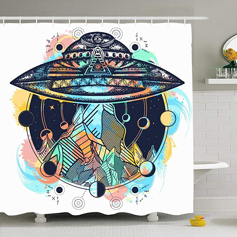 Ahawoso Shower Curtain 72x72 Inches Surrealism Watercolor Aliens UFO Ship Mountains Color Tattoo Parks Space Astrology Camping Fantasy Waterproof Polyester Fabric Set with Hooks