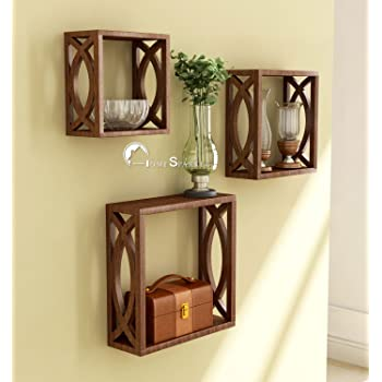 Home Sparkle Wooden Wall Shelf | Cube Design Wall Mounted Shelves for Living Room - Set of 3 (Brown)