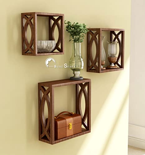 Home Sparkle MDF Wall Shelf   Cube Design Wall Mounted Shelves for Living Room - Set of 3 (Brown)