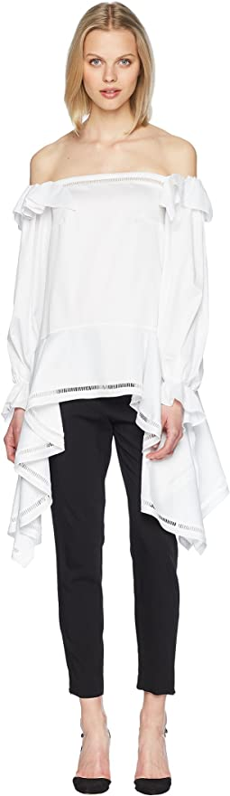 Zac Posen Stretch Cotton Poplin Off the Shoulder Tunic