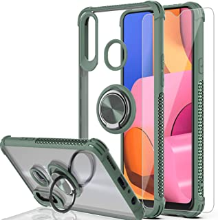AYMECL Galaxy A20S Case,Galaxy A20S Phone Case(Not Fit A20) with HD Screen Protector, 360 Degree Rotating Ring Holder Crystal Clear Protective Case for Samsung Galaxy A20S-TS Dark Green