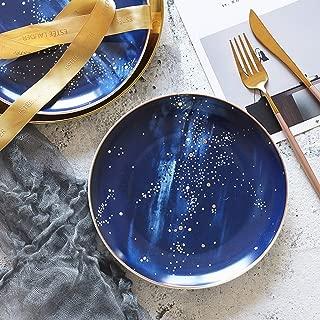 SMC plates Creative Outline In Gold Blue Planet Fashion Nebula Breakfast Plate Dessert Plate Western Food Steak Dish Ceramics Flat Plate Decorative Plate Salad Plate Dessert Plate