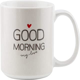 Shallow 350ml Porcelain Tea Coffee Mug, Refreshing Quotes & Designs, White