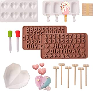 YQABLE Popsicle Mold and Diamond Heart Silicone Mold Trays with Letter Number Shaped Mold Set for Making Ice Cream Chocola...