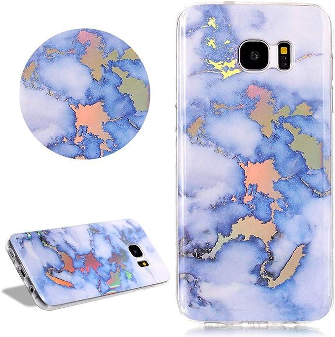Glitzer Marmor Muster Hülle Für Samsung Galaxy S7 Edge Daskan Holographic Regenbogen Laser Chrom Stein Effekt