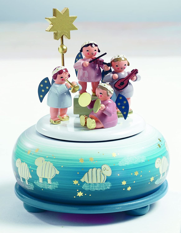 KWO Angel Musician Music Box, Wood, Multi-Colour, 30 x 30 x 16 cm