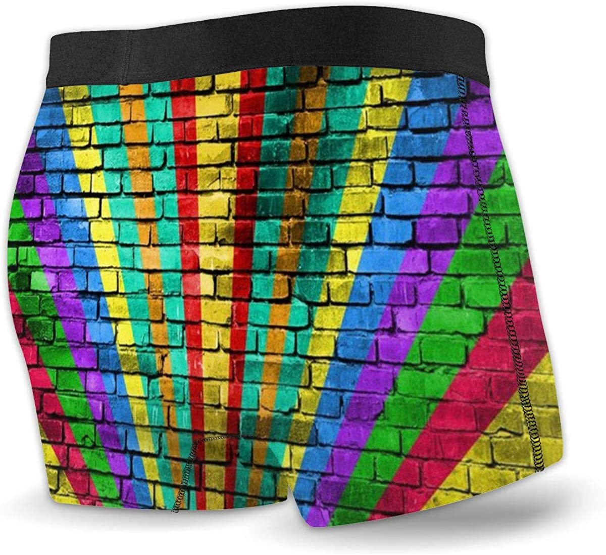 FsszpZZ Boxer Briefs Shorts LGBT Rainbow Flag Painted Old Brick Wall Soft Breathable Comfortable Underwear for Men