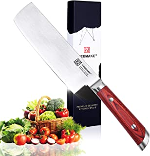 Nakiri Knife, KEEMAKE 7 inch Chef Knife Vegetable Kitchen Knife - Dicing Mincing Chopping Knife - Butcher Cleaver Knife - High Carbon Stainless Steel with Pakkawood Handle