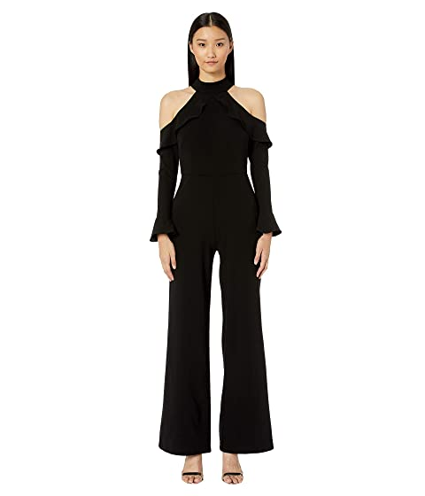 ML Monique Lhuillier Long Sleeve Crepe Jumpsuit w/ Shoulder Details