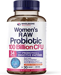 Dr. Formulated Raw Probiotics for Women 100 Billion CFUs with Prebiotics, Digestive Enzymes, & UT Support, Dr. Approved Wo...