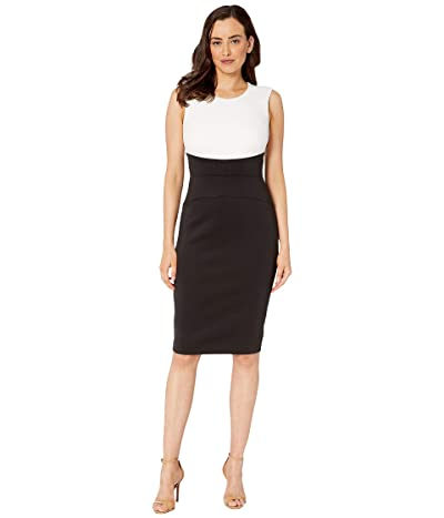 Calvin Klein Color Block Sheath Dress (Cream/Black/Black) Women