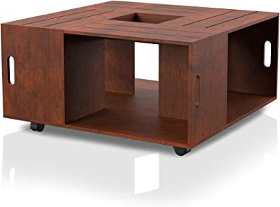 """ioHOMES Trenton Contemporary Square Crate Coffee Table with 4 Open Shelves Center Tray Lays Flat and Caster Wheels for Living Room, 31"""", Vintage Walnut"""