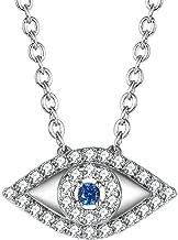 GuqiGuli Enhanced Blue Cubic Zirconia CZ Diamond Evil Eye Pendant Necklace in 14K Gold Plated and Silver-Tone Metal Brass