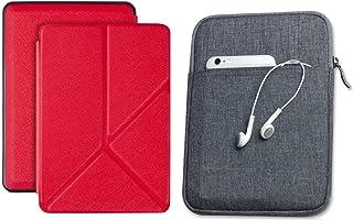 Capa Kindle 10ª geração com iluminação embutida Vermelha Origami - Função Liga/Desliga - Fechamento magnético + Bolsa Slee...