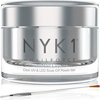 NYK1 Nail Force Power Nail Builder Gel - Salon Quality Nail Strengthener, Repair and Growth Treatment for Cracked, Broken, Damaged, and Weak Nails and Nail Tips - UV and LED Compatible Polygel - 15ml